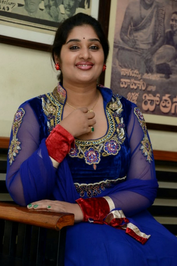 Film Tv Actress Priya Beautiful Stills In Blue Chudihar