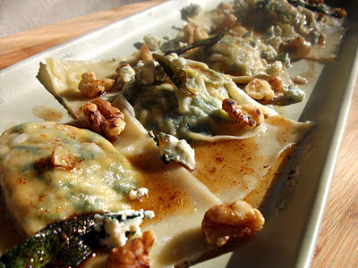 Kale & Butternut Squash Ravioli with Brown Butter, Sage & Gorgonzola Sauce