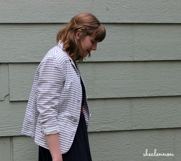 striped blazer + knit dress for summer | www.shealennon.com