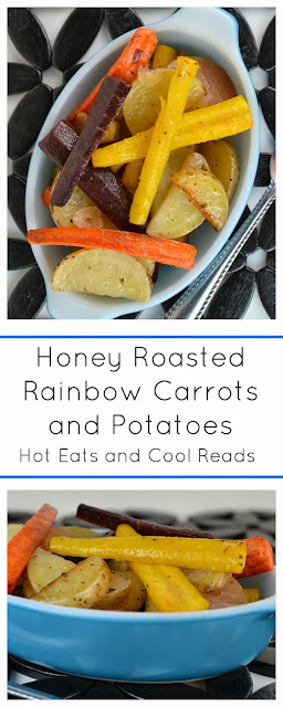 A fun and tasty side that goes with any meal! Also great on the grill in a foil pack! Honey Roasted Rainbow Carrots and Potatoes!