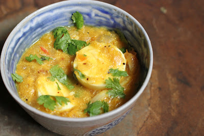 Indian egg curry made with seasonal heirloom tomatoes