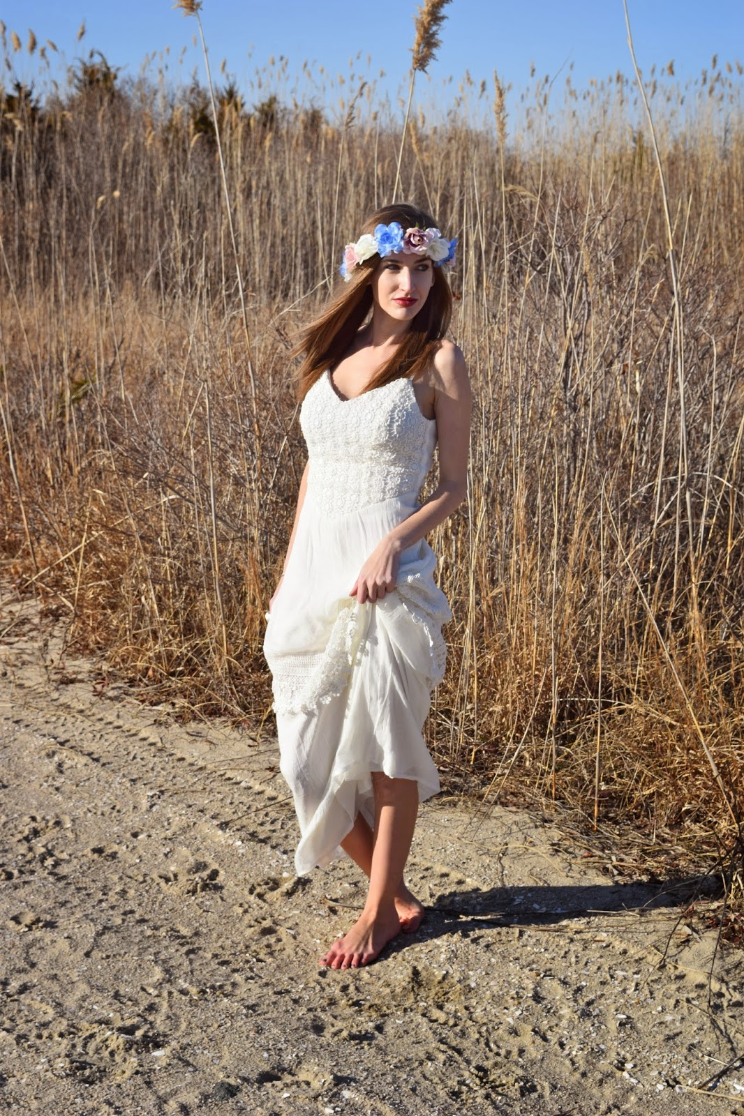 wearing Trixxi Girl Ivory Crochet Knit Maxi Dress, Coachella Inspired Look 2015, Nordstrom Flower Crown
