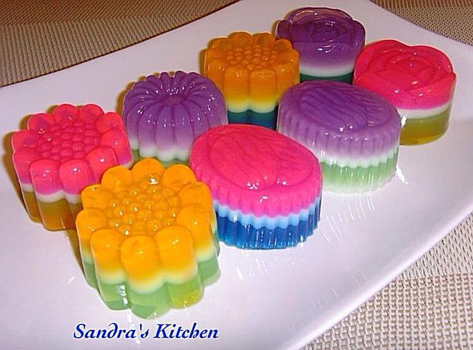 Culinary kitchenette rainbow layered agar agar by sandra kwan for Agar agar cuisine
