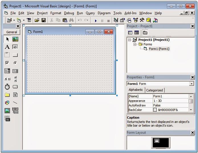 Komponen Dasar didalam VB 6.0 - Bagian dari tampilan VB 6.0