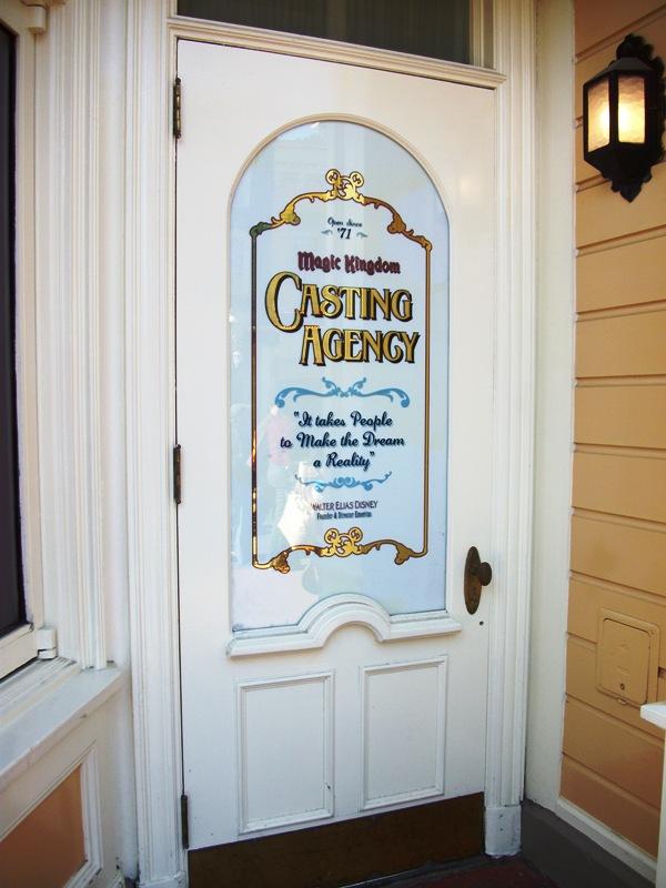 The door was installed in 2005 along the exterior to Disney Clothiers. The Magic Kingdom Casting Agency door simultaneously pays homage to all that Walt ... & Main Street Gazette: It takes people