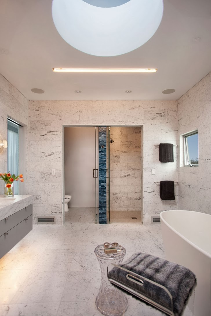 Marble bathroom in the Luxury modern family home in Venice, California