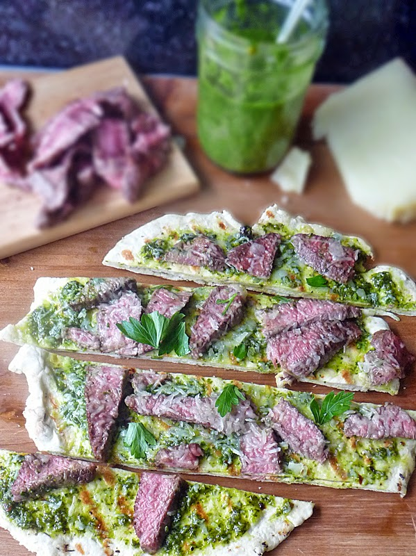 Grilled Steak Flatbread | by Life Tastes Good is homemade flatbread grilled and topped with chimichurri sauce, steak, and Manchego Cheese #Pizza #FWCon