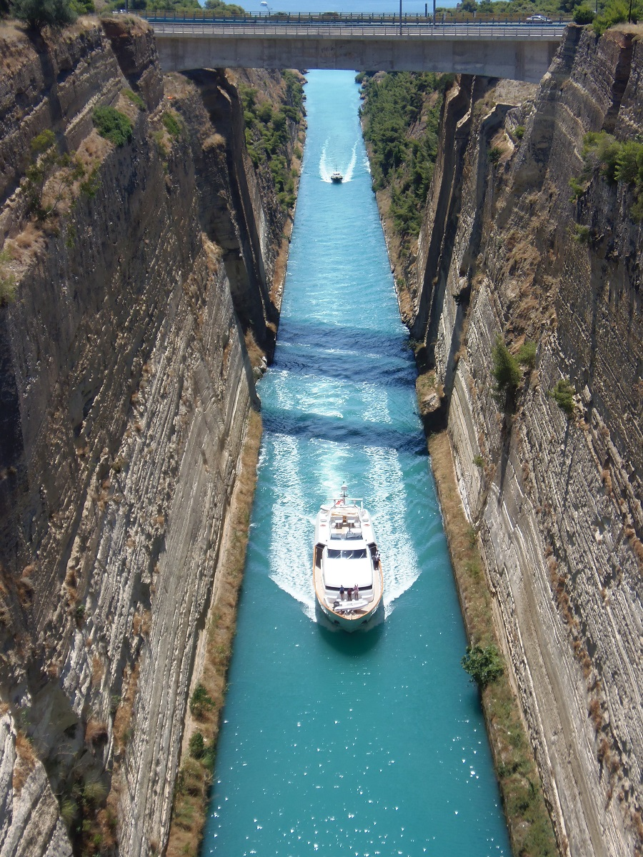 The Corinth Canal, which turned the Peloponnese peninsula into an island 64