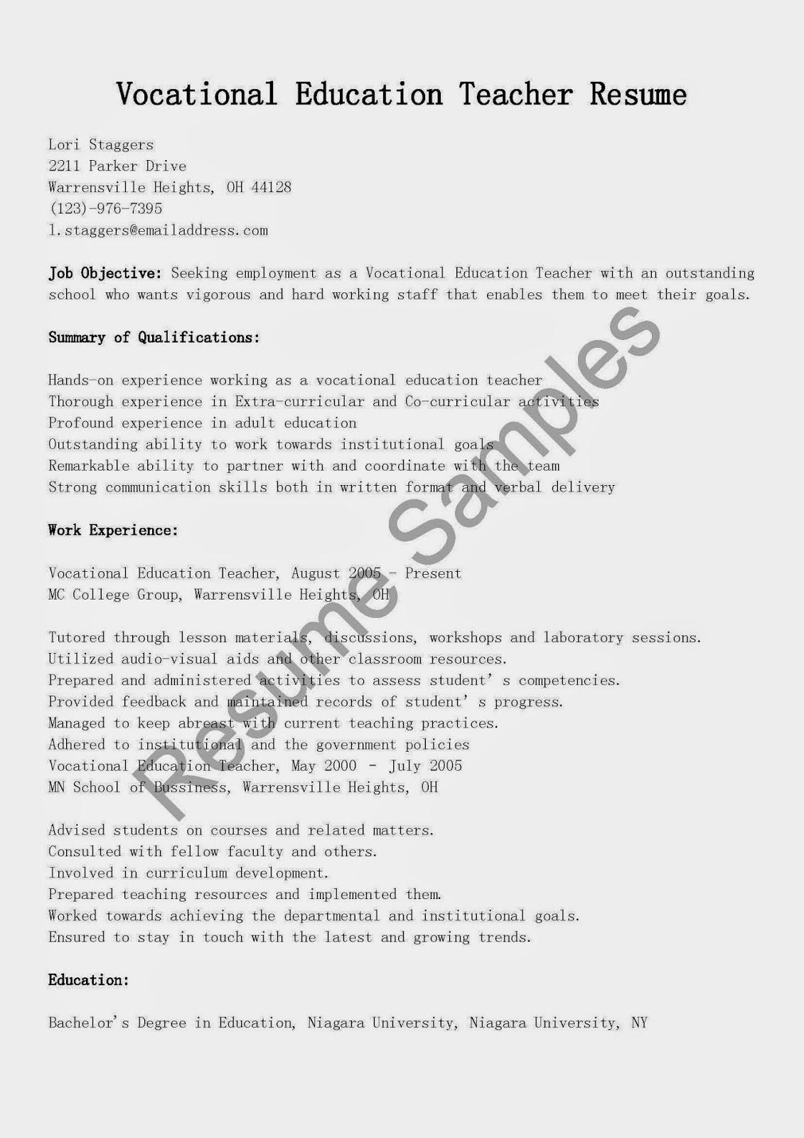 Resume Samples Vocational Education Teacher Resume Sample