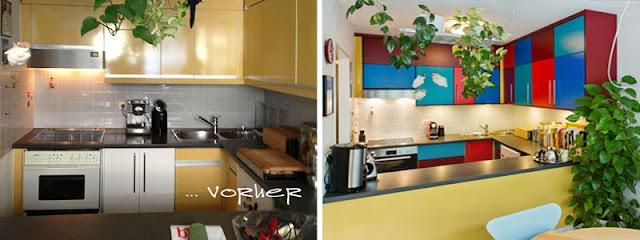 Frontentausch ganz mutig mit farbigen Küchenschranktüren