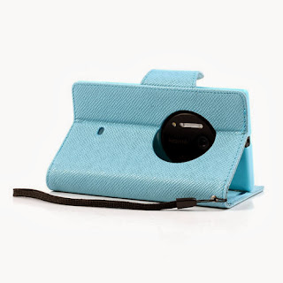 Leather Case Wallet Stand with Credit Card Slot for Nokia Lumia 1020 - Baby Blue