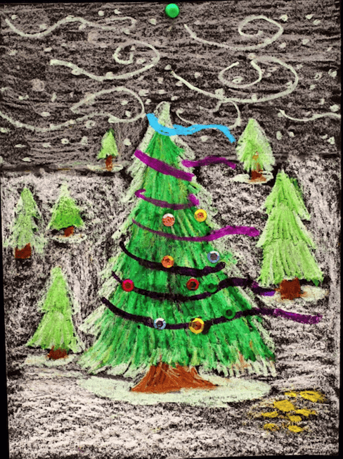 oil pastel christmas trees
