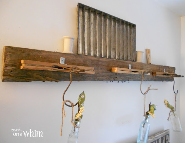 Vintage Hanger and Pallet Wood Wall Decor | Vintage Farmhouse Bathroom Makeover | Denise on a Whim