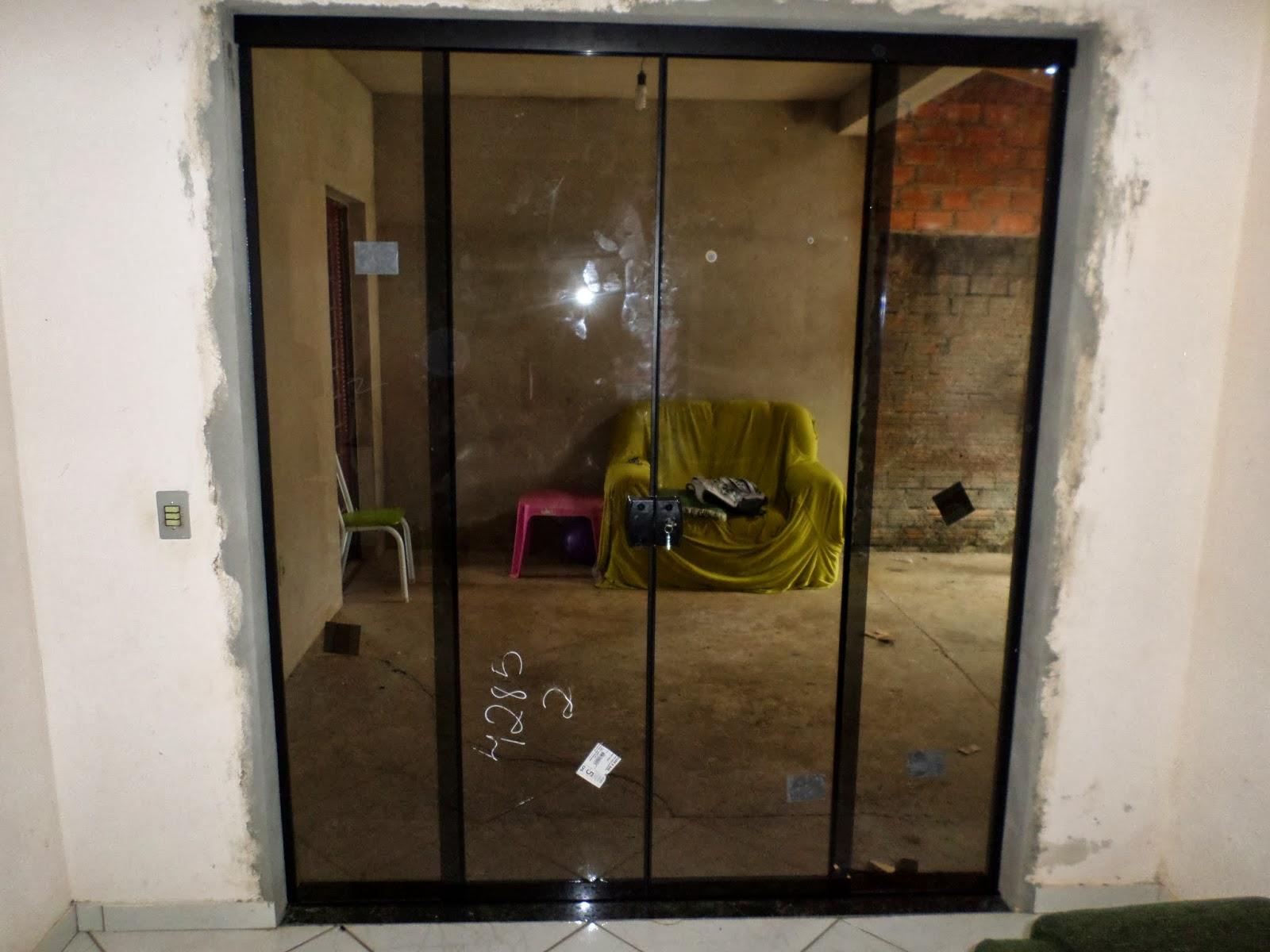 #614929  Mogi Guaçu porta de Vidro fume 8mm aluminio e ferragem Preto 1400 Qual é Melhor Janela De Aço Ou Aluminio