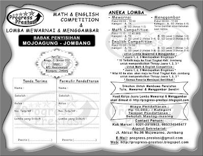 Progress Prestasi : Brosur Math & English Competition & Lomba Mewarnai dan Menggambar Babak Penyisihan Kec. Mojoagung - Jombang