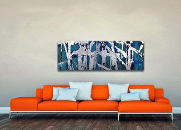blue, green, silver, black and white, panoramic contemporary wall art