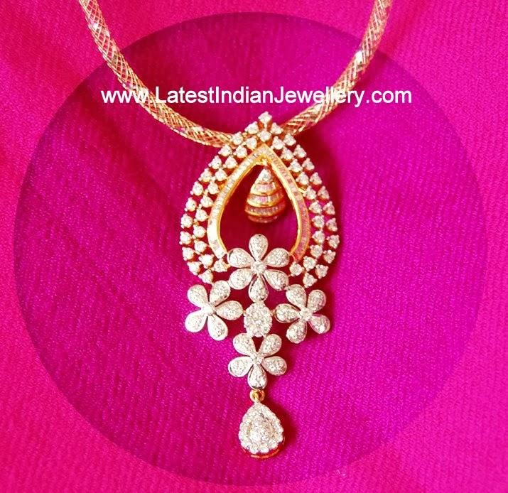 Designer Floral Diamond Pendant