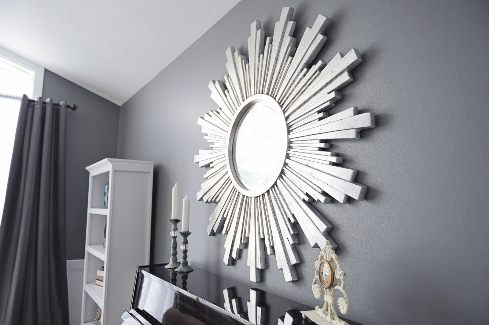 sunburst mirror, ballard design, gardner village, down to earth, Gray, white, black, silver, gold, zgallerie, homegoods, ikea, tjmaxx, marshalls, world market, ross, ksl, overstock, tuesday morning, sherwin williams, cityscape, turquoise, floral arrangement, marble, tan, curtains, sheer curtains, contemporary, interiors, interior design, staging, salt lake city, utah, sandy, design, blog, blogger, studio 7, studio 7 interior design