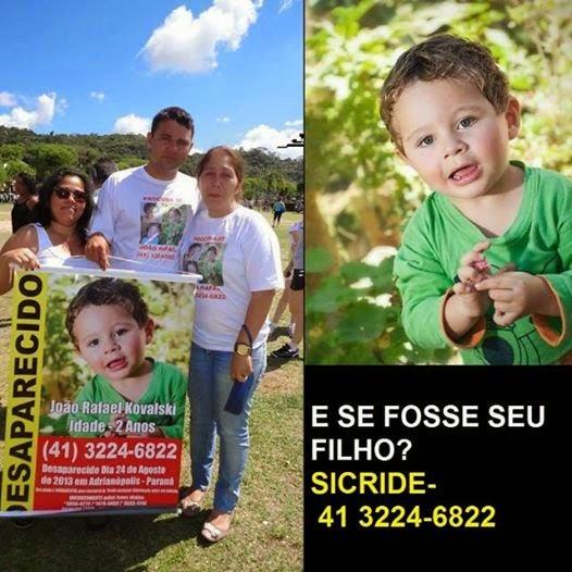 Desaparecido João Rafael Kovalski de 2 anos
