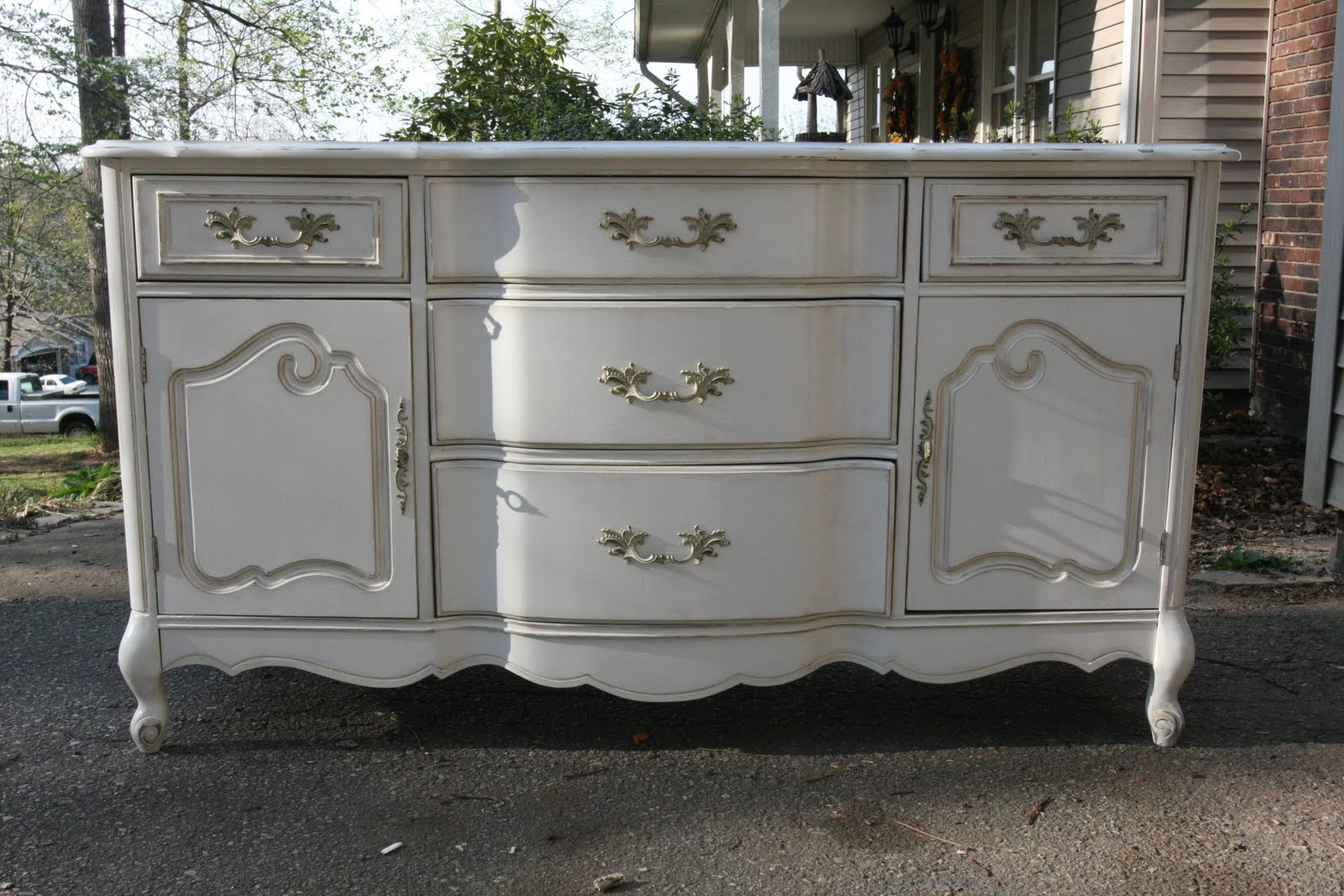 Marvelous Antique White Buffet Table