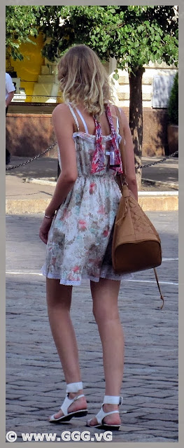 Girl's outfit with sundress on the street
