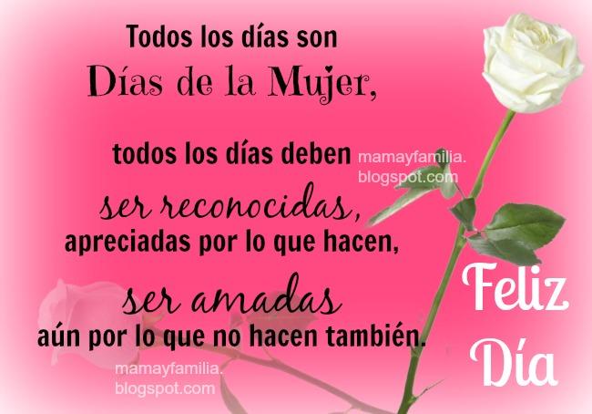 Todos los dìas son Días de la Mujer. Imágenes de mujer, madre, abuela en un feliz día. Tarjeta para saludar hija, esposa, madre, amiga.