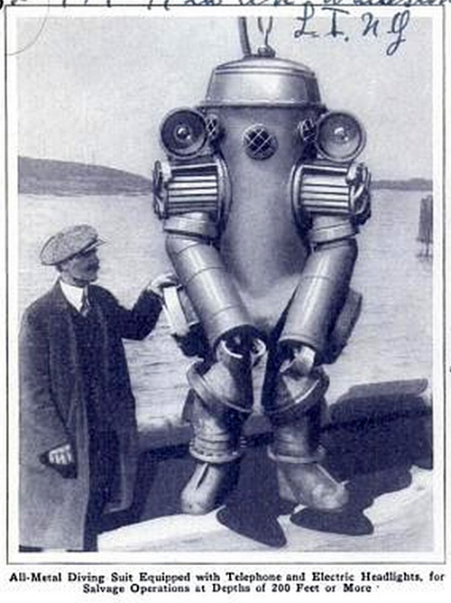 All-metal diving suit equipped with telephone and electric headlights, for salvage operations at depths of 200 feet or more