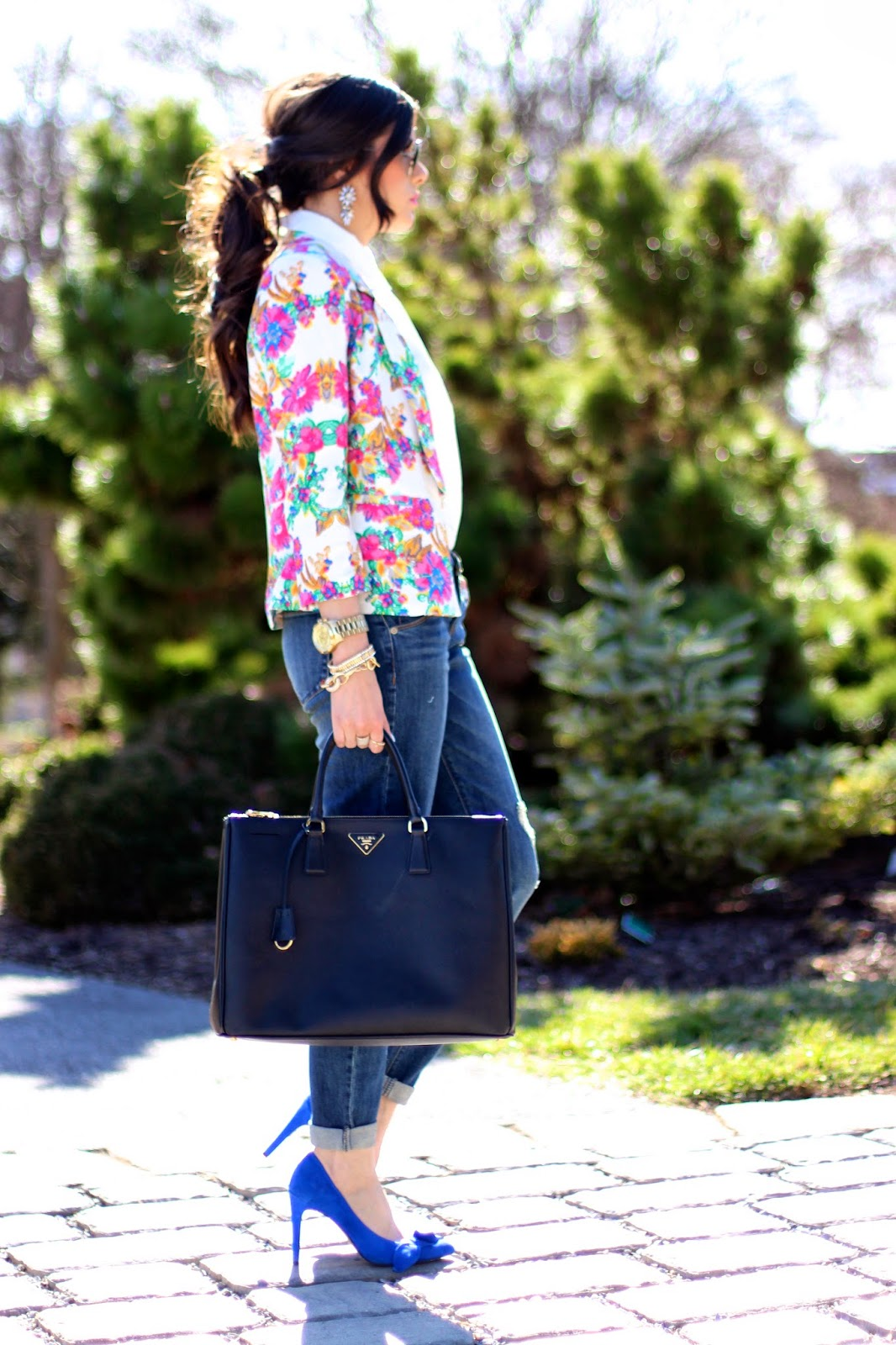 www.TheSweetestThingBlog.com, Emily Ann Gemma, Messy Ponytail, floral Blazer, Masons Boutique on Joyce, Boyfriend jeans, dark denim boyfriend jeans, ripped boyfriend jeans, Dittos brand boyfriend jeans, prada 54mm retro sunglasses, prada executive tote, black large prada bag, indigo little white top, michael kors runway watch, spring fashion, pinterest spring fashion 2014, spring trends 2014, candy yum yum, fashion blogger, style blogger, bauble bar earrings, statement earrings, firecracker drops