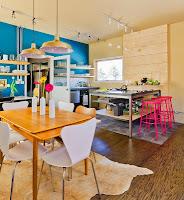 cocina con mucho color