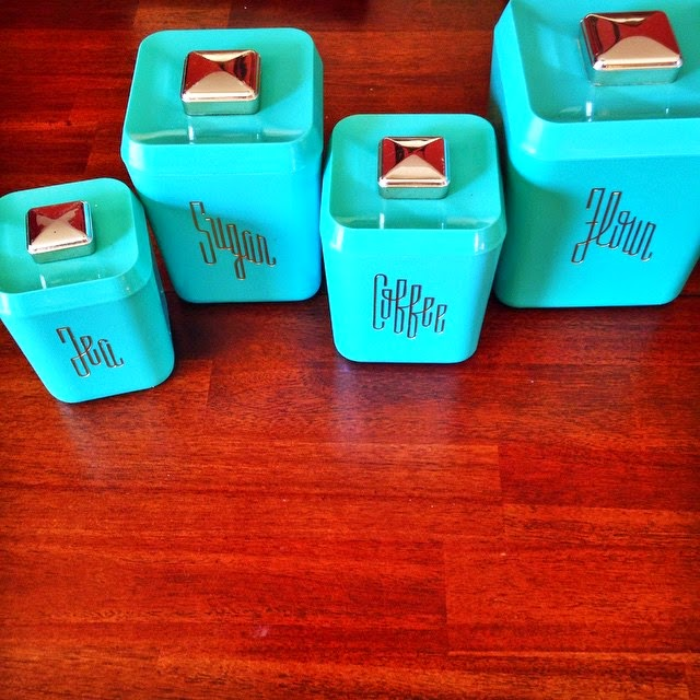 #thriftscorethursday Week 62 | Instagram user: tracyreinspired shows off this Vintage Teal Canisters