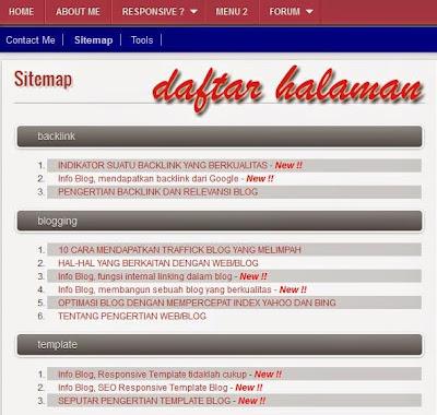 Info Blog, daftar halaman Otomatis