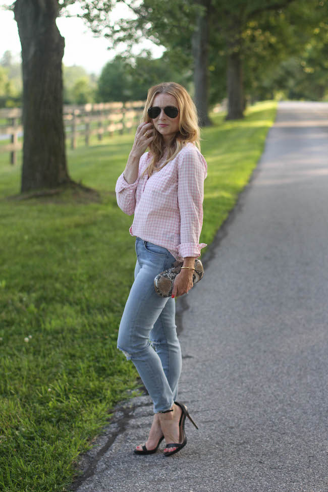 ray ban aviators, jcrew factory shirt, j brand jeans, hobo clutch