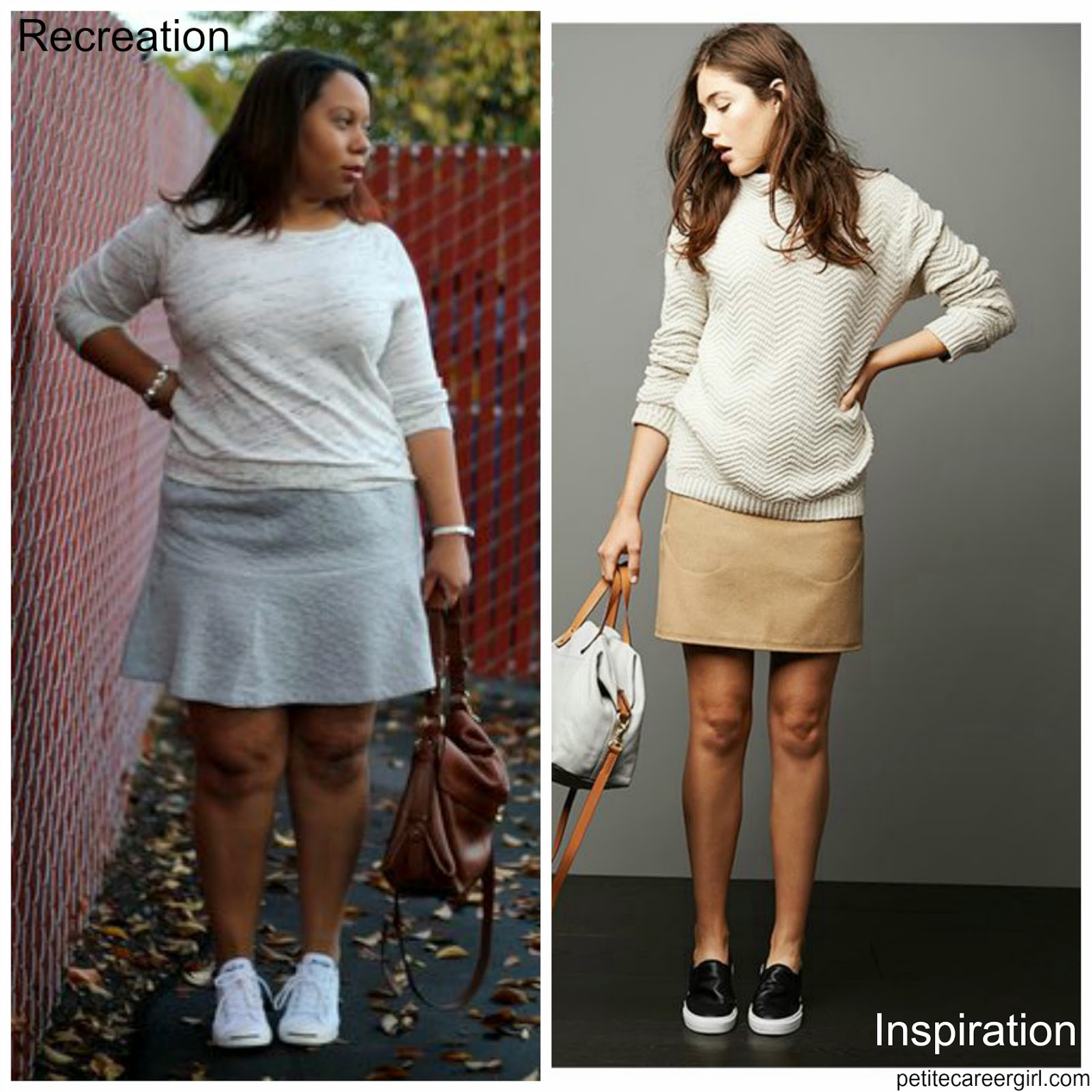 Curvy, Petite Outfit Ideas | Professional and Casual-Chic Fashion and Style Inspiration | Outfit Recreation: Grey Flounce skirt