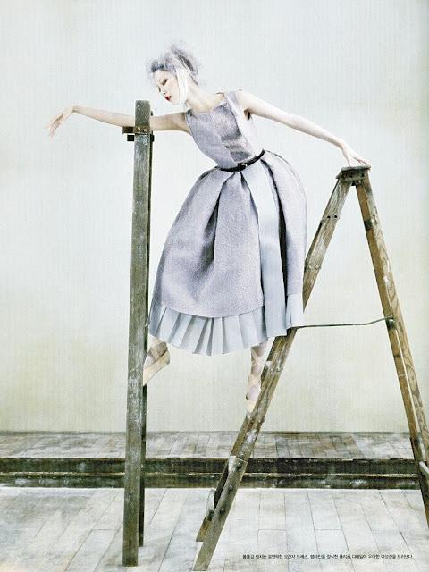 elegant Dior dress ladder magazine photoshoot