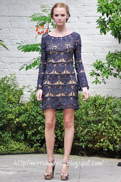 Ванесса монторо, вязание крючком, платье, платье ажурное