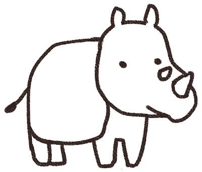 サイのイラスト(動物) 白黒線画