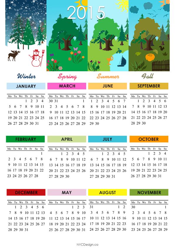 ... NY: 2015 Calendar - Printable - 4 Seasons - A4 Paper Size - Colorful