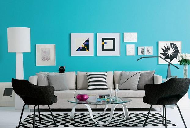 Emplea el color turquesa en el living