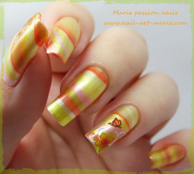 Nail Art Water marble d' Automne7
