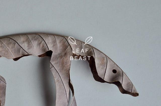 l'art contemporain japonais et ses artistes : sculpture de feuilles mortes art éphémère végétale de l'artiste japonais Baku Maeda , projet leaf beast et chamanisme