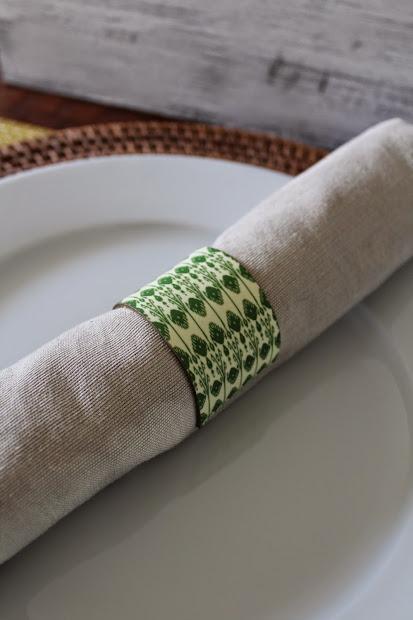 green ikat napkin ring