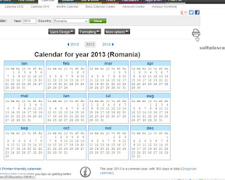 Generator calendar - TimeAndDate.com - initiere printare calendar