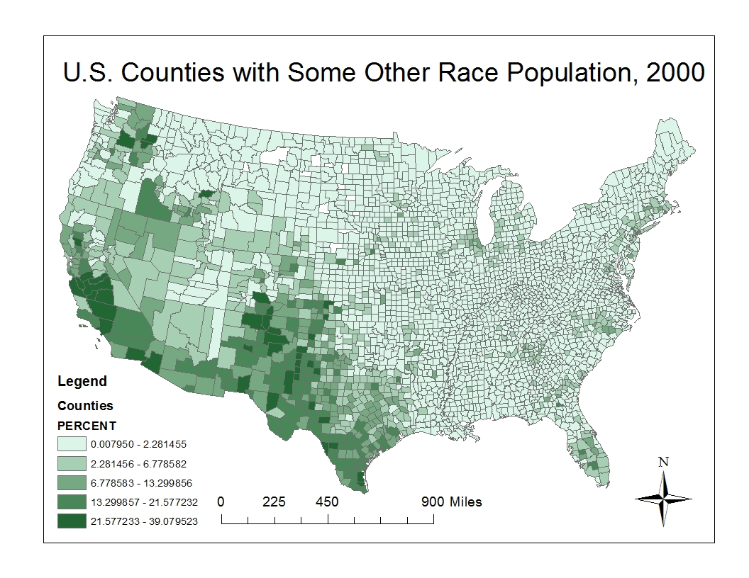 the last map above indicates the population density of some other race per u s county according to census data of the year 2000