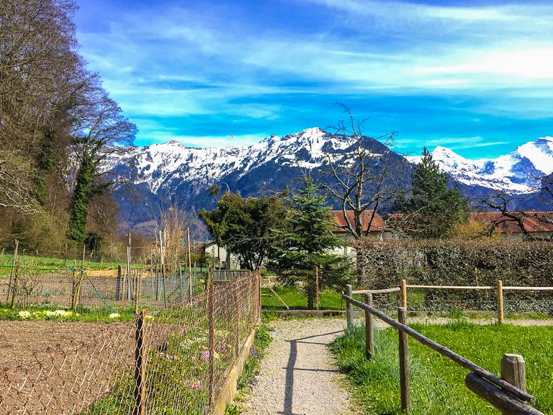 Walking through the quiet village at the end of our climb of Harder Klum in Interlaken Switzerland