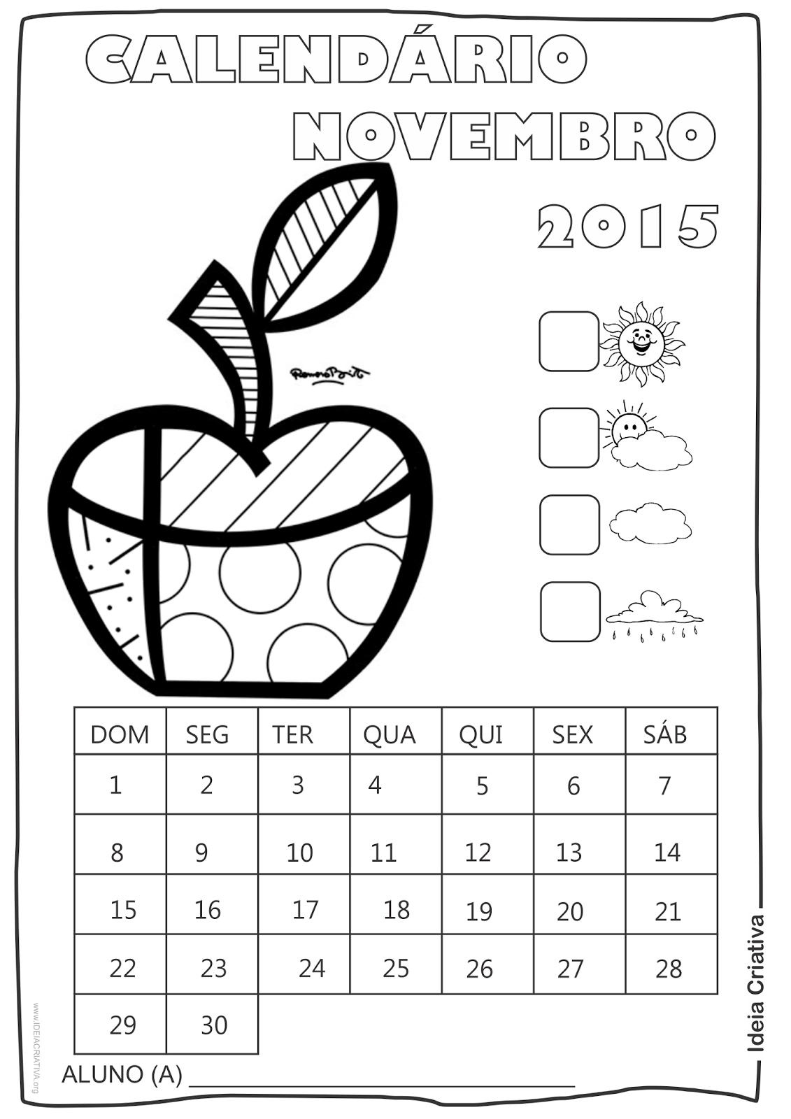 Calendário Novembro  2015 com Desenho Maçã  de Romero Britto para Colorir
