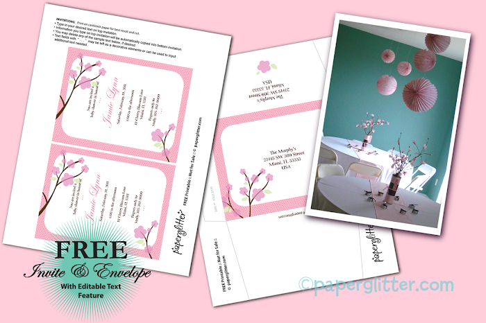 the perfect bridesmaid freebie printable cherry blossom bridal shower invitations. Black Bedroom Furniture Sets. Home Design Ideas