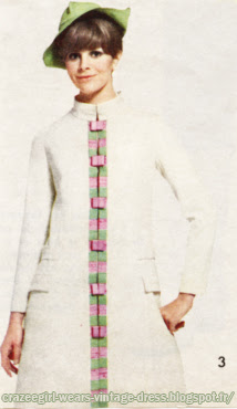 Dress and coat , color block, 1966 Emmanuelle Khanh 60s 1960 mod stripe striped