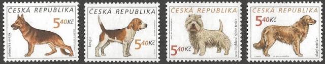 チェコ共和国 ジャーマン・シェパード ビーグル ウエスト・ハイランド・ホワイト・テリア ゴールデン・レトリーバーの切手