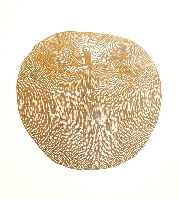 guld æble printet som lino print af Monika Petersen