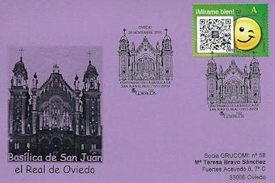 Tarjeta del matasellos del Centenario de la Basílica de San Juan de Oviedo